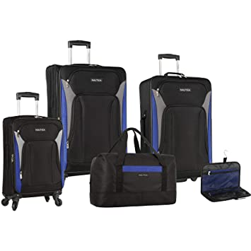 09589a147 Amazon.com | Nautica Open Seas 5 Piece Luggage Set, Black | Luggage &  Travel Gear