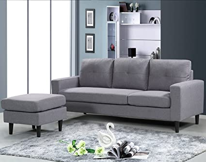 Harperu0026Bright Designs Mid Century Linen Fabric Sectional Sofa Convertible  Couch With Reversible Chaise Lounge (Grey
