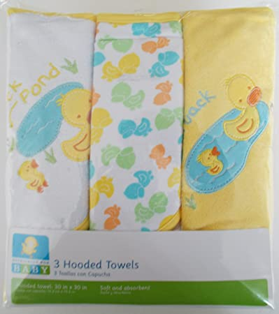 Amazon.com : Baby 3-Pack Hooded Towel Set with 4 Coordinating Washcloths : Hooded Baby Bath Towels : Baby