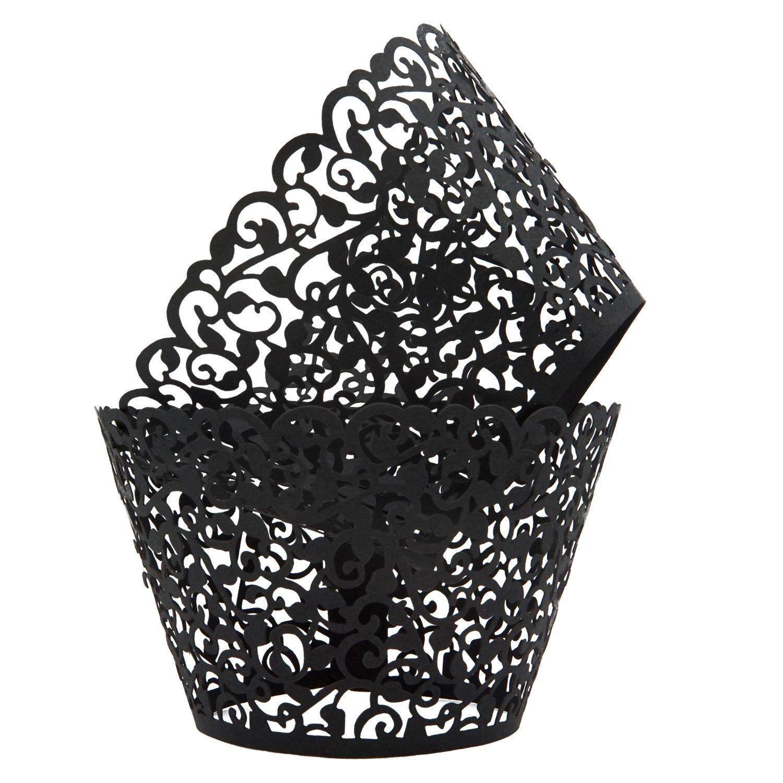 KEIVA Pack of 50 Vine Cupcake Holders Filigree Artistic Bake Cake Paper Cups Vine Designed Decor Wrapper Wraps Cupcake Muffin Paper Holders for Wedding Party Birthday Decoration (50, Beige) IH000001