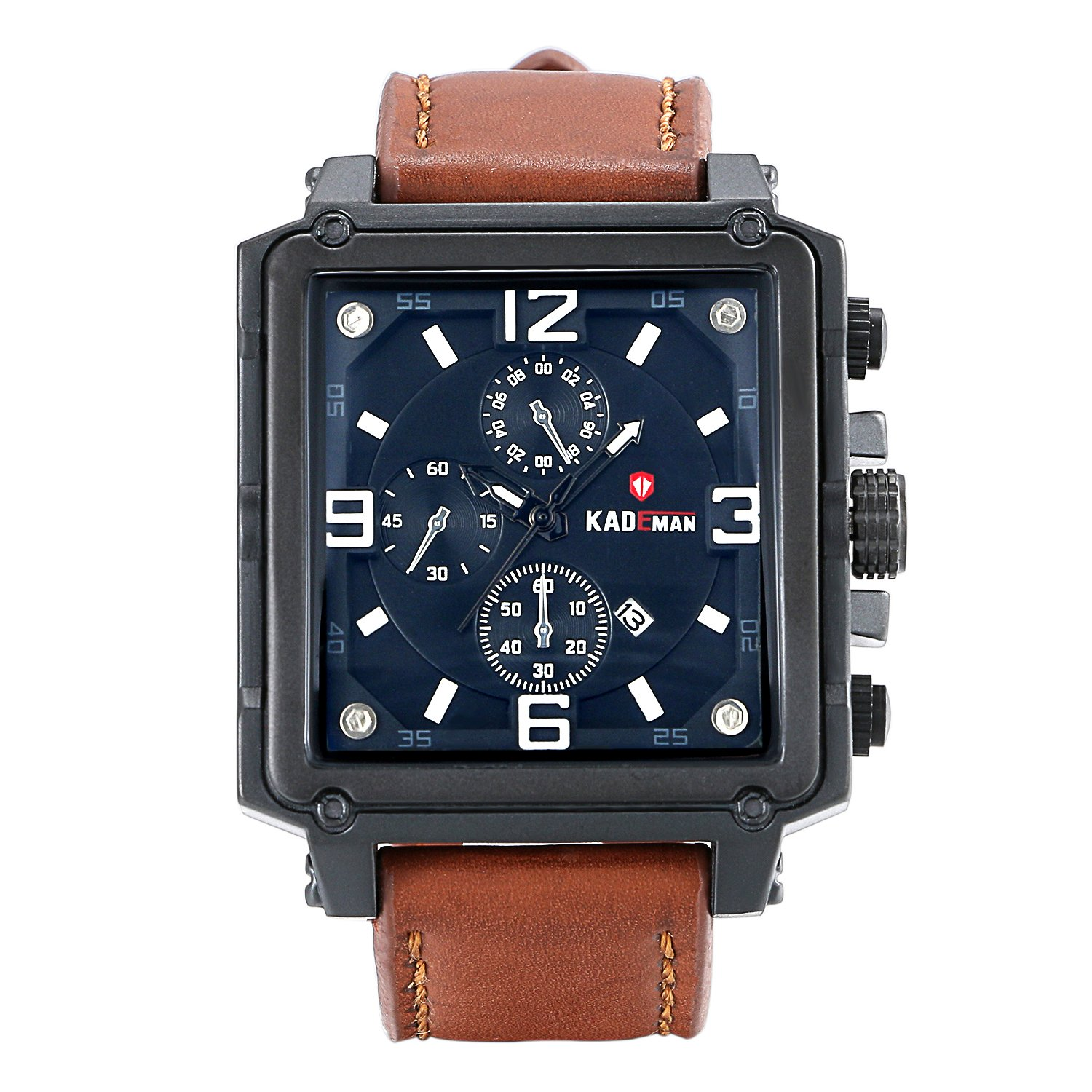 Lancardo 30M Water Resistant Men's Big Square Face Wrist Watch With Brown Leather Strap
