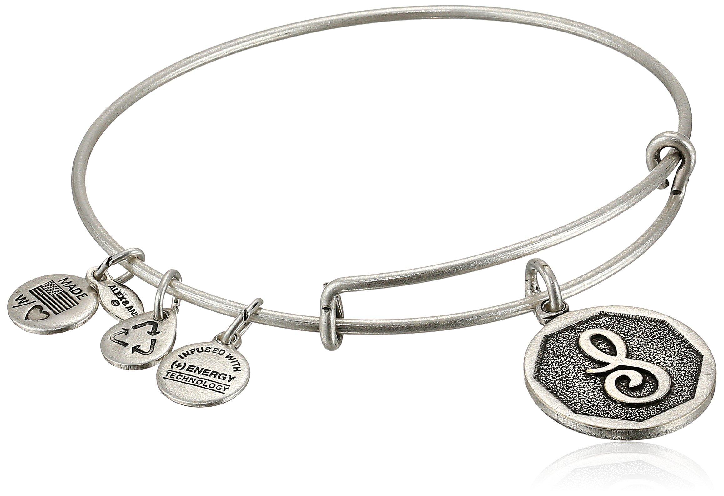 Alex and Ani Rafaelian Silver-Tone Initial S'' Expandable Wire Bangle Bracelet, 2.5''