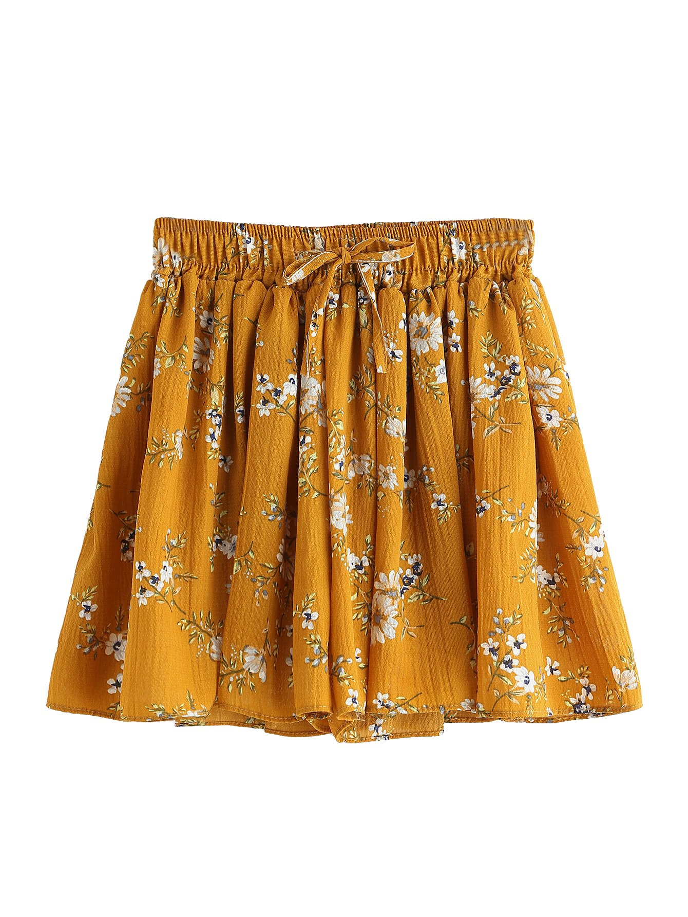 SweatyRocks Women's Vintage Floral Embroidery Drawstring Summer Casual Shorts (Medium, Yellow)
