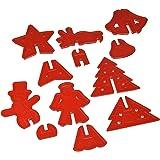 R & M Industries International 3-D 6 Christmas Shapes Cookie Cutter Set, Multicolor