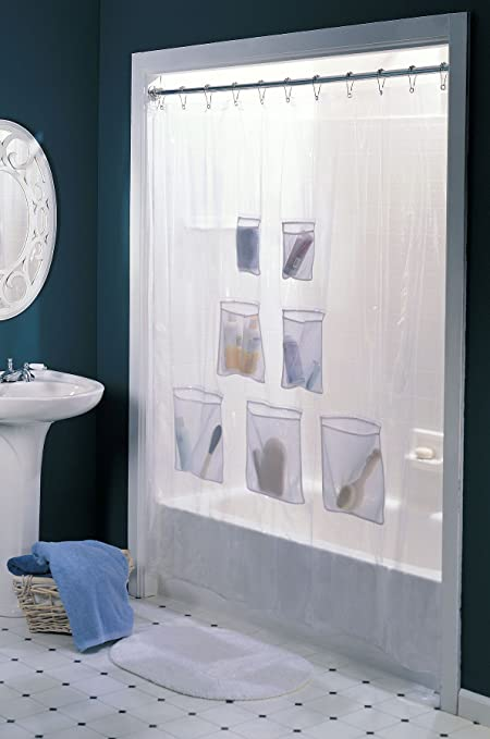 Vinyl Shower Curtain With 7 Mesh Pockets
