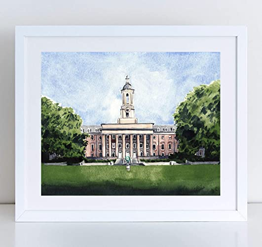 Penn State Old Main Campus Art Print Watercolor Painting Wall Home Decor Nittany Lion University Pennsylvania State College Happy Valley Graduation Gift ...