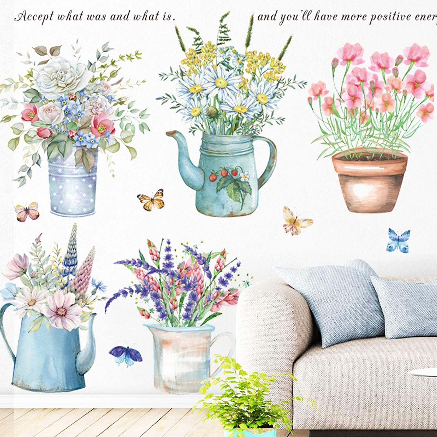 Flowers Butterfly Wall Stickers Spring Garden Potted Plant Wall Decals Removable DIY Peel and Stick Art Murals for Bedroom Living Room Kitchen Nursery Classroom Home Decoration (Flower)