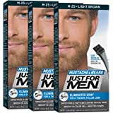 JUST FOR MEN Brush-In Color Gel, Mustache & Beard M-25 Light Brown 1 Each (Pack of 3)