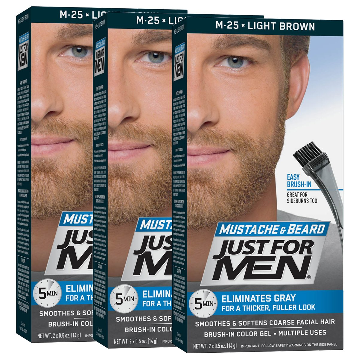 Details about Just For Men Mustache & Beard Brush-In Color Gel, Light Brown  (Pack of 3)