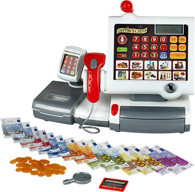 Theo Klein 9356 Caja registradora de juguete, Con teclado de lámina, función calculadora, terminal de pago con escáner, Medidas 31 cm x 15.5 cm x 23 cm, Juguete para niños a partir