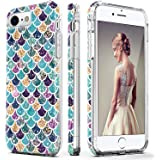 DOUJIAZ iPhone 7 Case,iPhone 8 Case,Flashing Mermaid Scale Pattern Hybrid Hard Back Soft TPU Raised Edge Ultra-Thin Shock Absorption Protective Case for iPhone 7/8