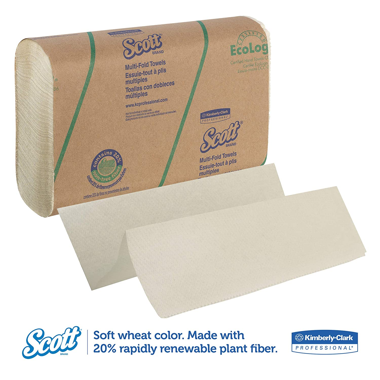 Scott 11829 Multi-Fold Towels, 20% Plant Fiber, 9 2/5x9 1/5, Soft Wheat, 250 per Pack (Case of 16 Packs): Amazon.com: Industrial & Scientific