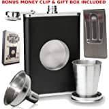 8oz Shot Flask with Bonus Funnel and Money clip Gift Set by Freedom Shot Flasks. Gift box included.