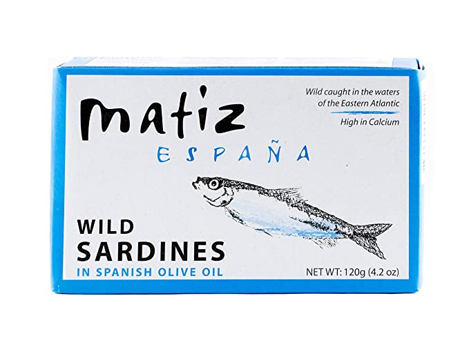 Matiz Sardines in Olive Oil, 4.2 Ounce Can, Spanish Gourmet Wild Caught Natural Fish for Tapas, Snacks, or Meals, Protein Rich, Sealed Freshness