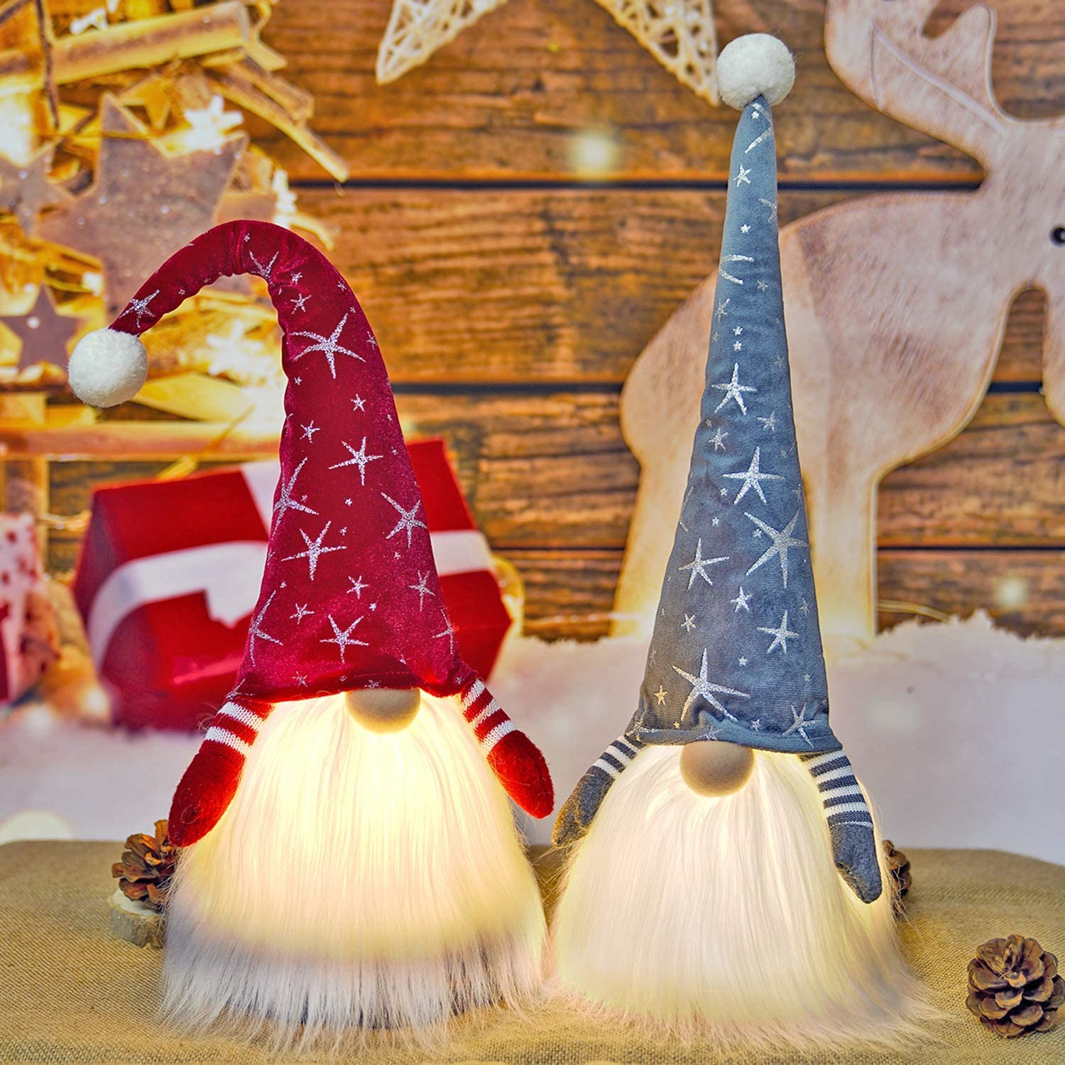 Gnome Christmas Decorations with Led Light, 2 Pack Handmade Swedish Tomte Gnomes, Scandinavian Santa Elf Plush Table Ornaments, Nordic Nisse Figurine Doll Holiday Party Decor Gift-Snowflake
