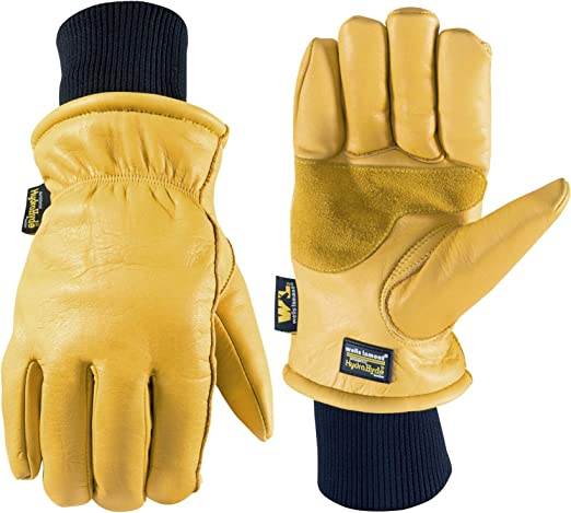 Large Men/'s Safety Work Gloves HydraHyde Insulated Split Leather Winter Gloves