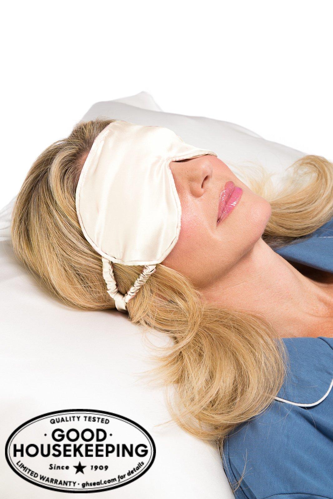 Fishers Finery 25mm 100% Pure Silk Travel Sleep Mask; Adjustable Strap (Cream)