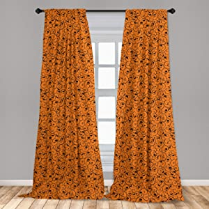 "Lunarable Halloween 2 Panel Curtain Set, Floral Swirls with Dots Little Bats Open Wings and Pumpkins Seasonal Pattern, Lightweight Window Treatment Living Room Bedroom Decor, 56"" x 63"", Orange Black"
