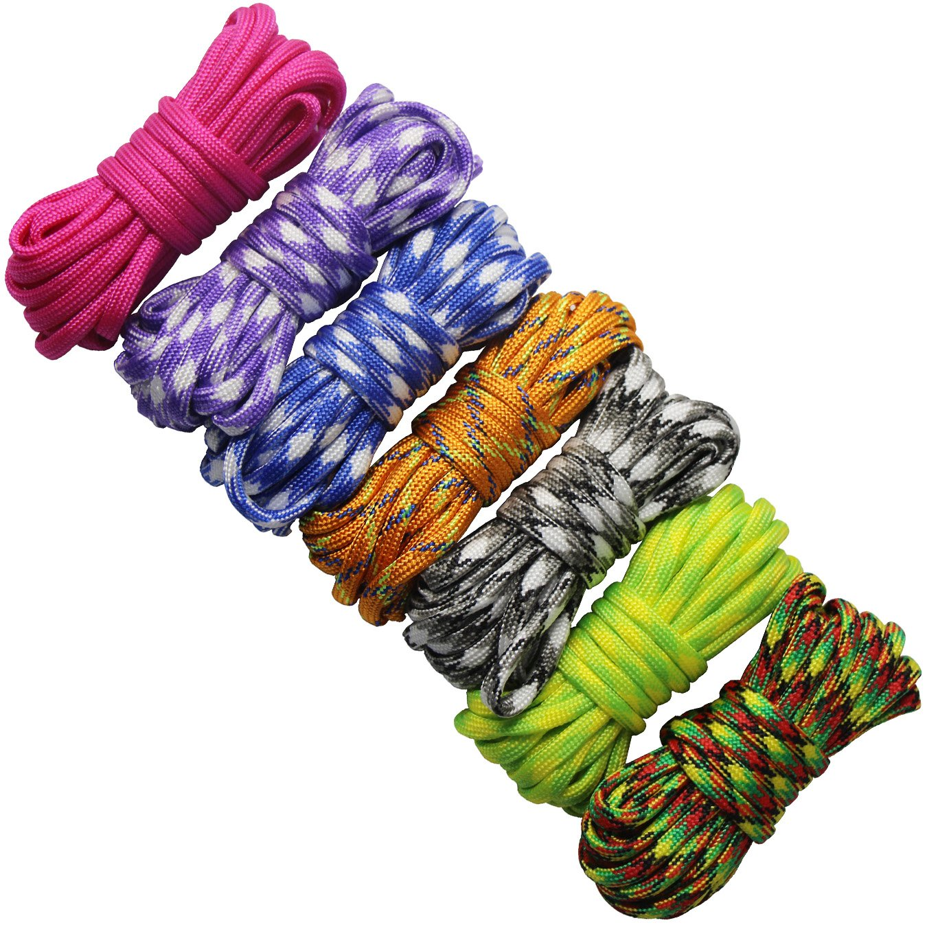7 pcs Paracord Bracelet Cord Parachute Rope Outdoor Survival Safe Rope Set for DIY Hand Woven 10 Feet UOOOM