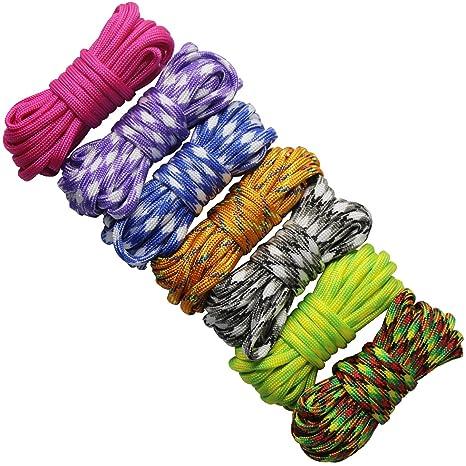 7 Piezas Cuerda Paracord Set Ideal para el aire libre, camping, trenzar pulseras y Llavero DIY mano tejida