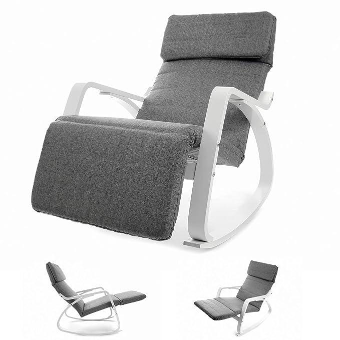 *Vecotti Schaukelstuhl in Grau mit einstellbarer Fußstütze in braun*
