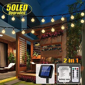 Outdoor Weihnachtsdeko.50 Led Solar Lichterkette Und Batterie 2 In 1 Outdoor Lichter Wasserfest Gartenlicht 8 Modus 7 Meter Kristallbälle Weihnachtsdeko Fernbedienung Und