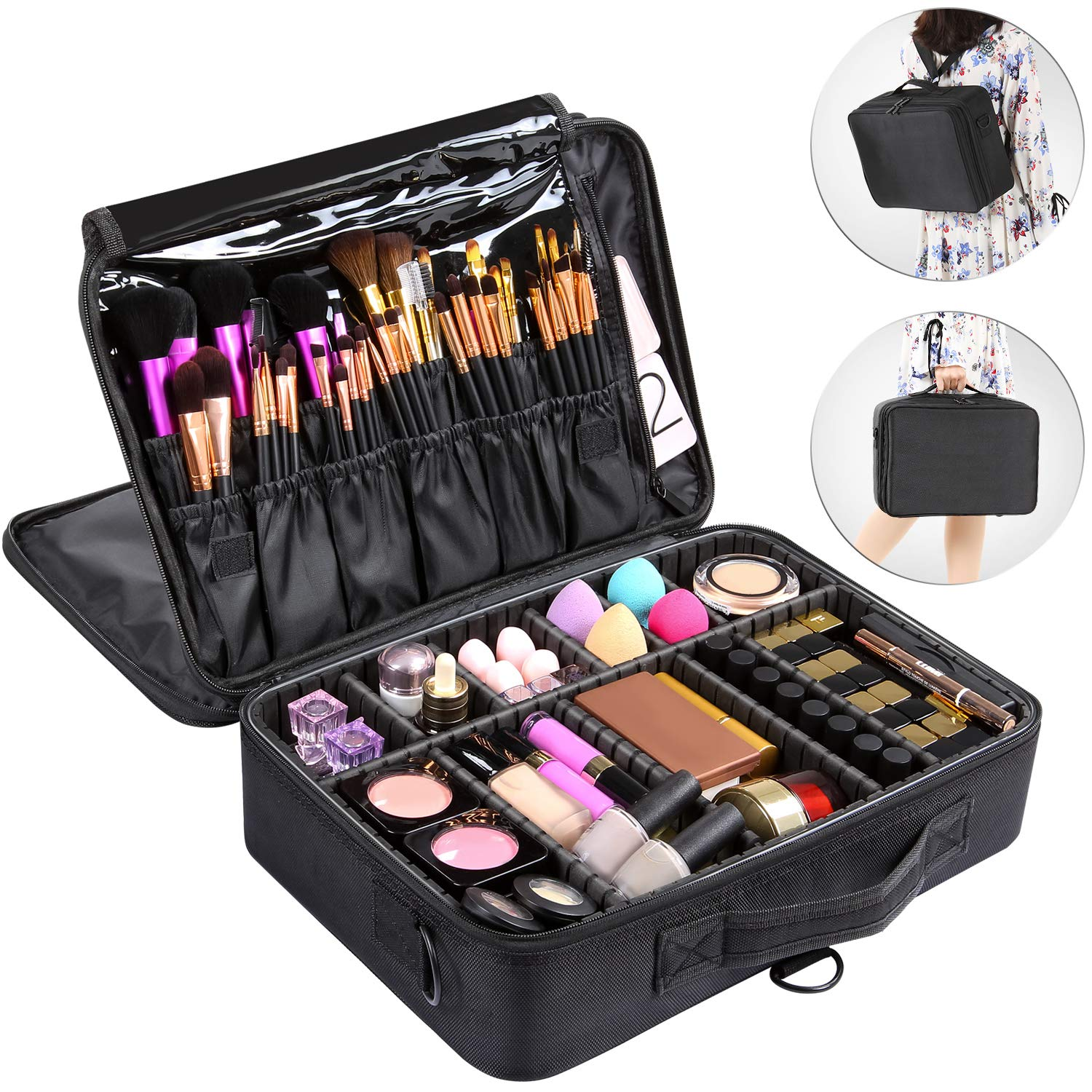 Valdler 3 Layer Large Makeup Bag Portable Travel Cosmetic Toile Organizer With Removable Divider Water Proof Multifunction 15.5inch Black