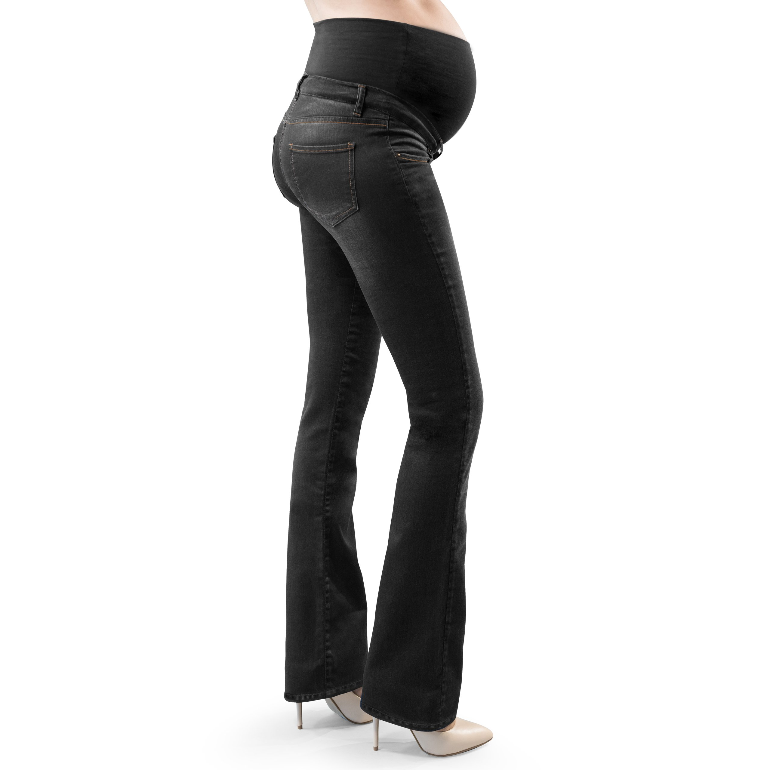 MamaJeans - Torino Black Denim Boot Cut Maternity Pants Made in Italy, Size - 30