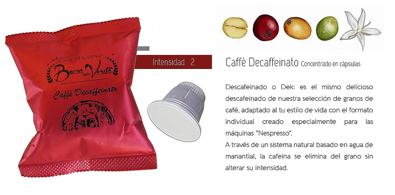 Café cápsula DESCAFEINADO - Nespresso compatible - 100 Cápsulas - Bocca Della Veritá - 100% Café Italiano: Amazon.es: Alimentación y bebidas