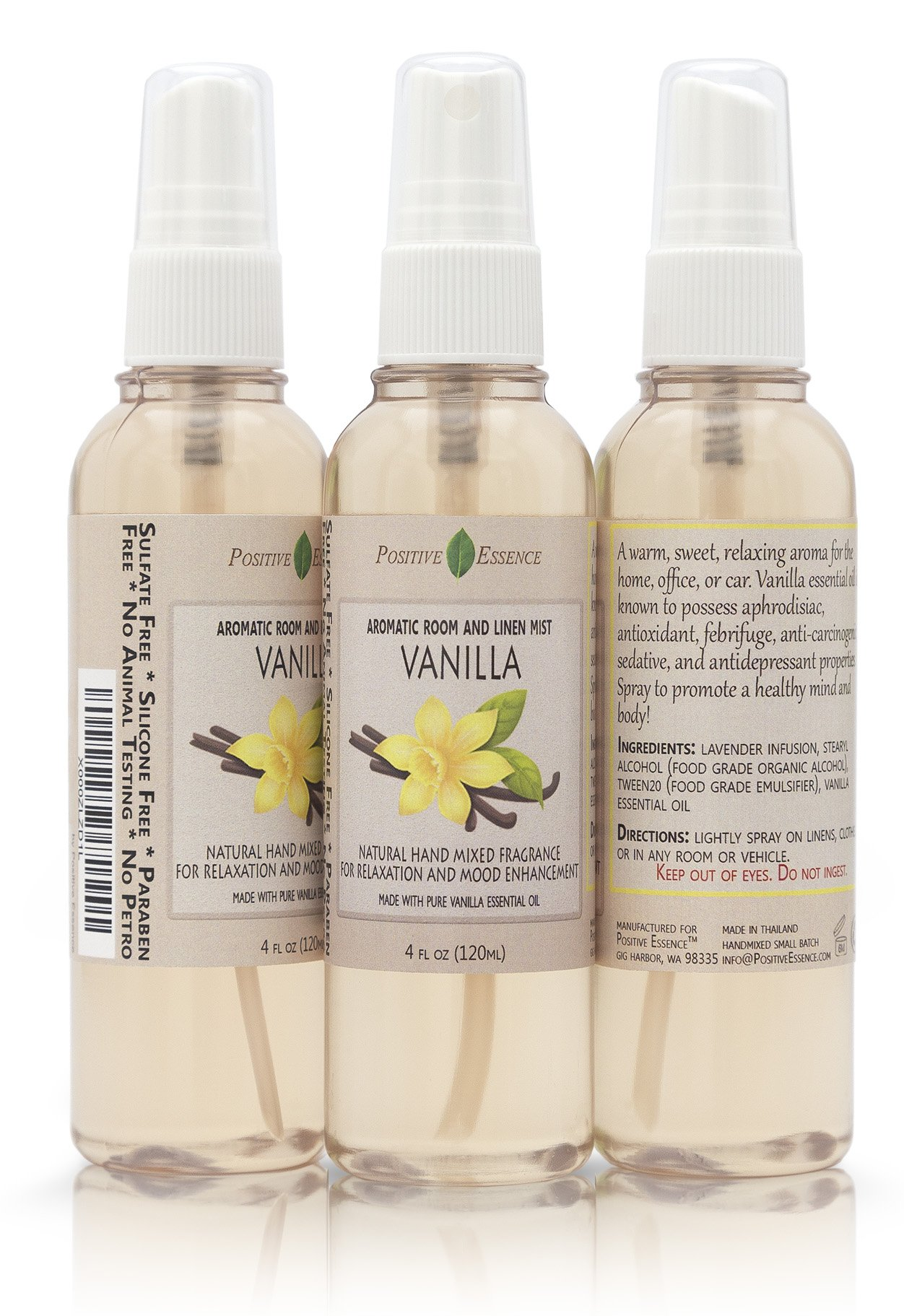 Positive Essence Vanilla Linen & Room Spray, Natural Aromatic Mist Made with Pure Vanilla Essential Oil, Relax Your Body & Mind, Perfect as a Bathroom Air Freshener Odor Eliminator by Positive Essence (Image #2)