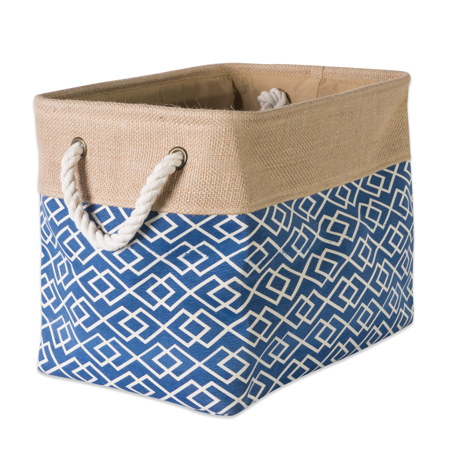 "DII Collapsible Burlap Storage Basket or Bin with Durable Cotton Handles, Home Organizational Solution for Office, Bedroom, Closet, Toys, & Laundry (Large – 18x12x15""), Diamond Navy"