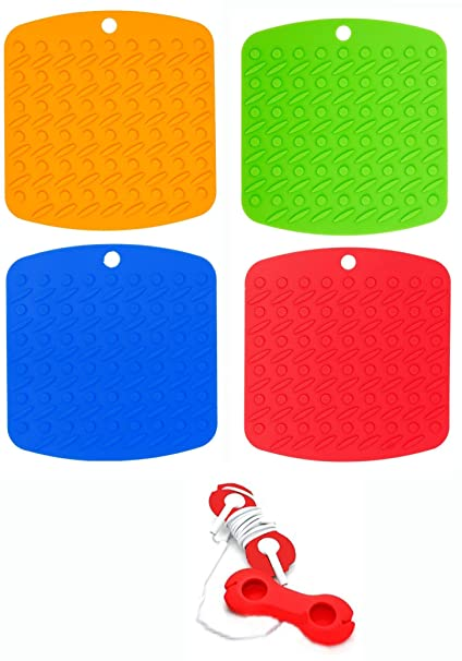 KitchenMeister,Silicone Pot Holders, Trivet Mat, Non Slip Hot Pads, And