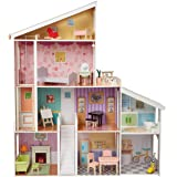 Amazon Basics 4-Story Wooden Dollhouse and Furniture Accessories for 12-inch Dolls