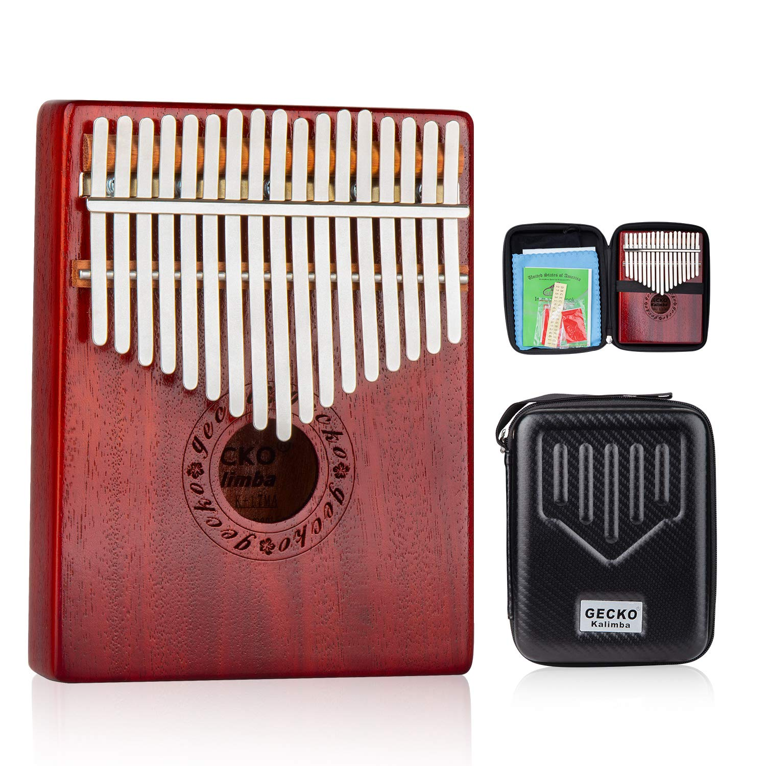 GECKO Kalimba 17 Keys Wide Key Thumb Piano builts-in EVA high-Performance Protective Box, Tuning Hammer and Study Instruction.K17MA by GECKO (Image #1)