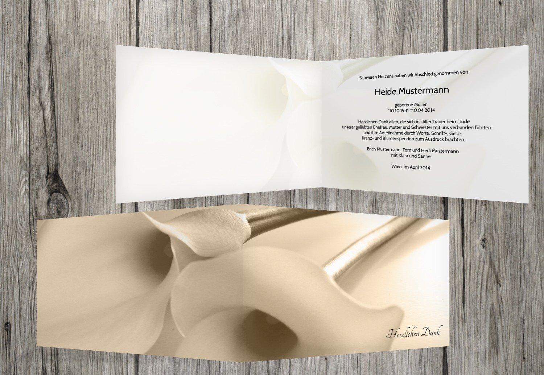 Tarjetas de agradecimiento luto Calla, beige, 80 Karten