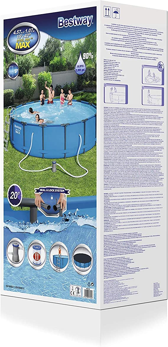 Bestway 56488 Steel Promax Pool ø457 X 107 cm, Marco de Acero ...