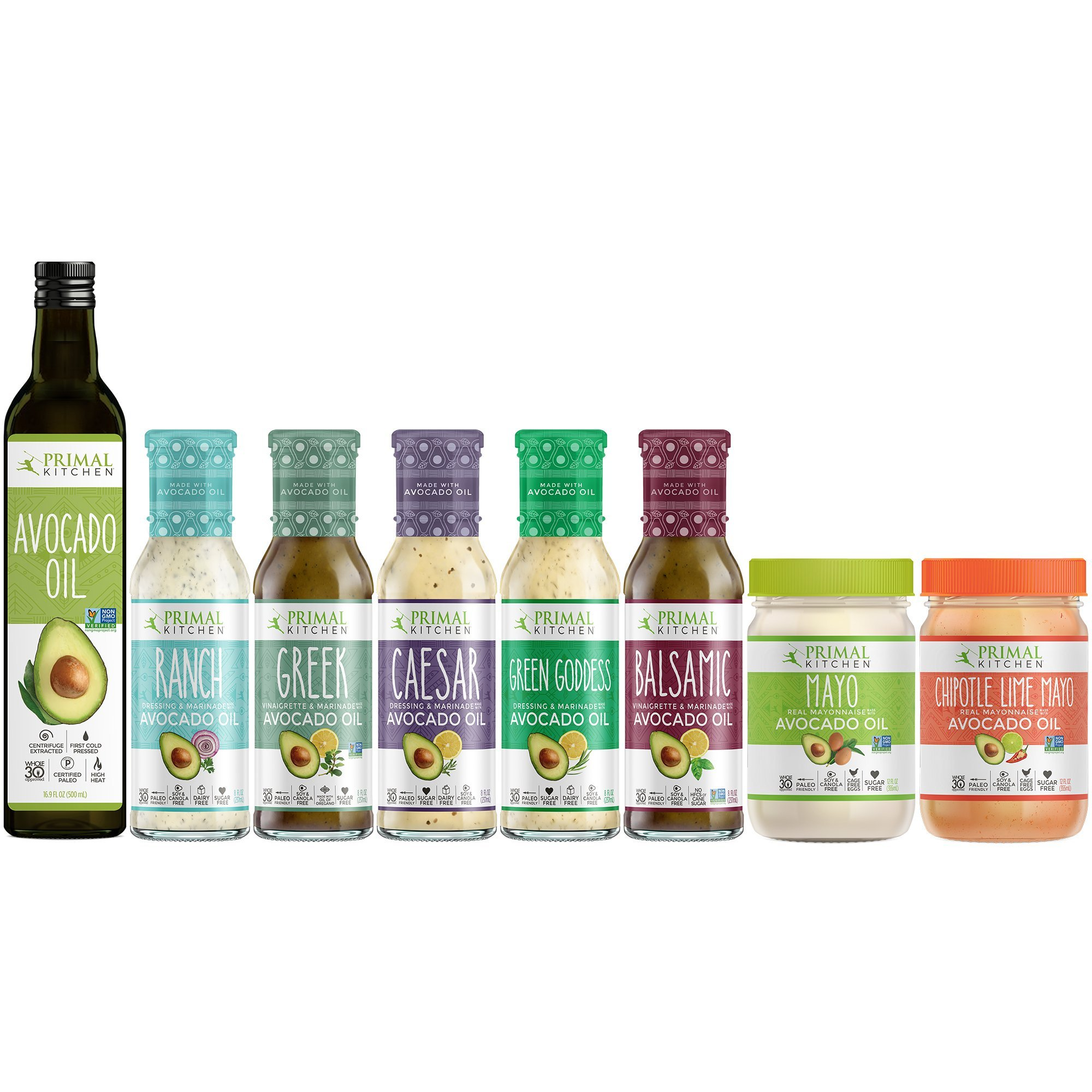Primal Kitchen Whole 30 Advanced Kit Includes Avocado Oil, Avocado Oil Mayo, and Avocado Oil Dressings (8 count)