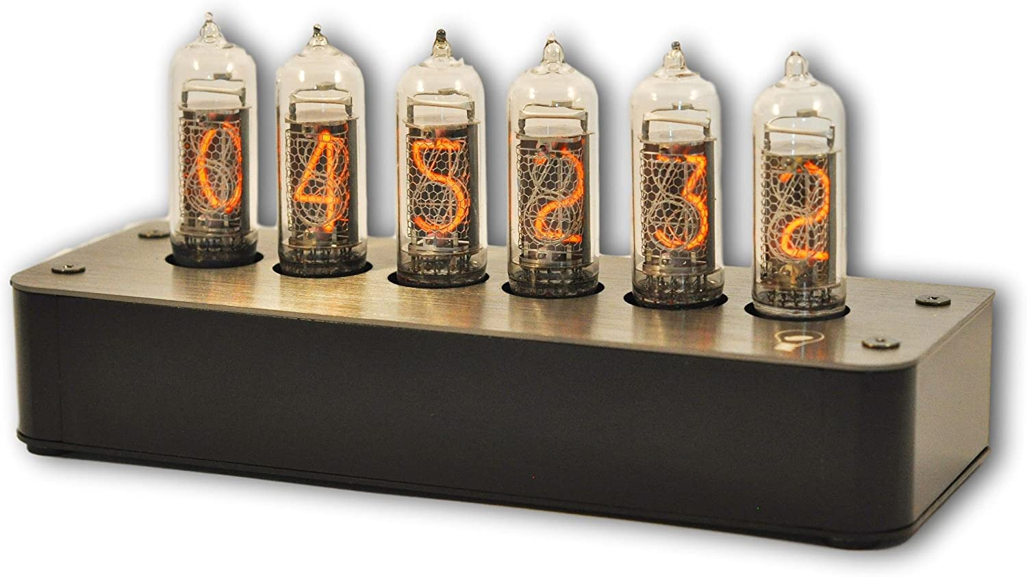 Makenology Nixie Tube Clock Boulder 2 - Stainless Steel Black Gray