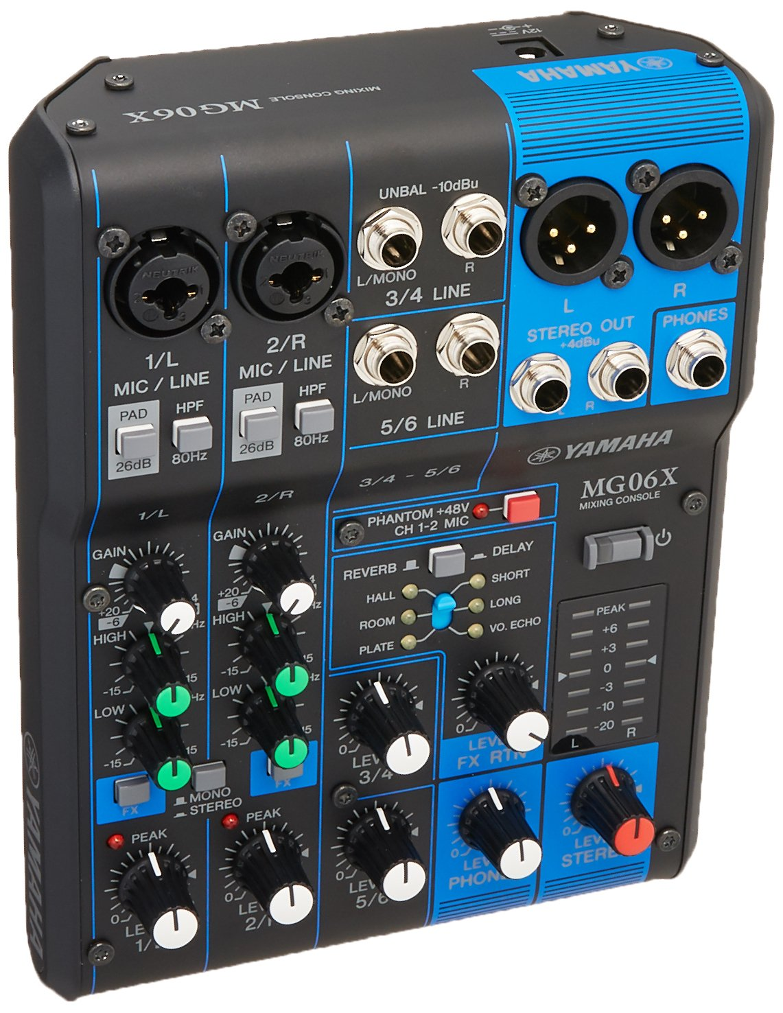 Yamaha MG06X 6 Input Stereo Mixer (with SPX Effects) w/ Stereo 1/8'' TRS to Dual 1/4'' Breakout Cable and (1) 20' XLR Mic Cable