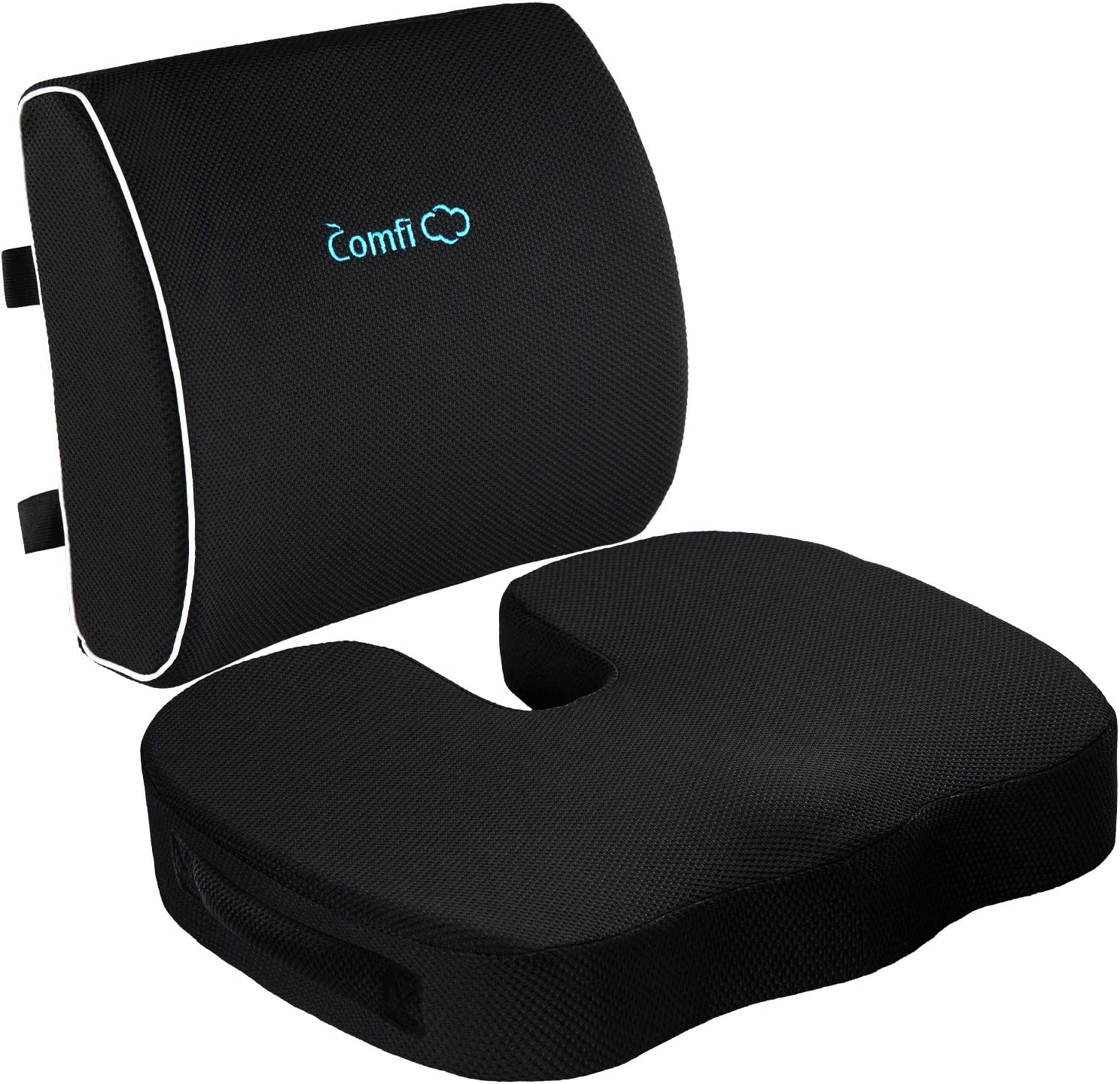 Coccyx Seat Cushion and Lumbar Support Pillow for Office Chair-Gel Infused,Orthopedic Car Seat Cushion Memory Foam Back Support Cushion for Lower Back Pain,Tailbone & Sciatica Pain Relief Black