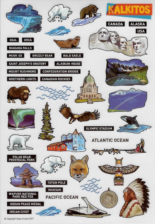 Kalkitos DECALCOMANIES AMERIQUE DU NORD ALASKA CANADA
