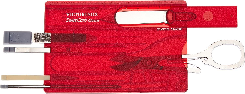 10 Funktionen, Schere, Kugelschreiber Victorinox Taschenmesser Swiss Card blau transparent