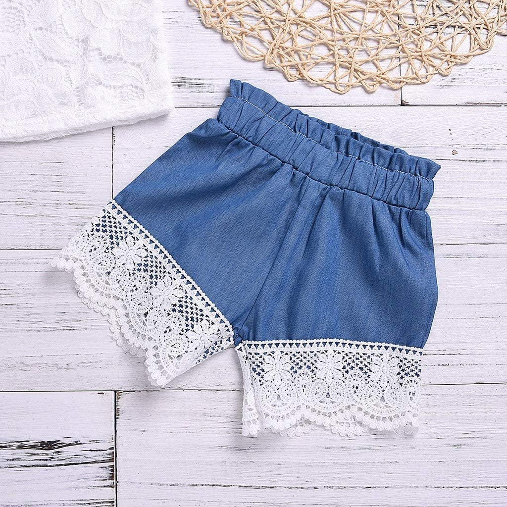 Baby Toddler Girls Summer Clothes Set 1-4 Years Old Kids Short Sleeve Lace Flower Print Tops Shorts Outfit