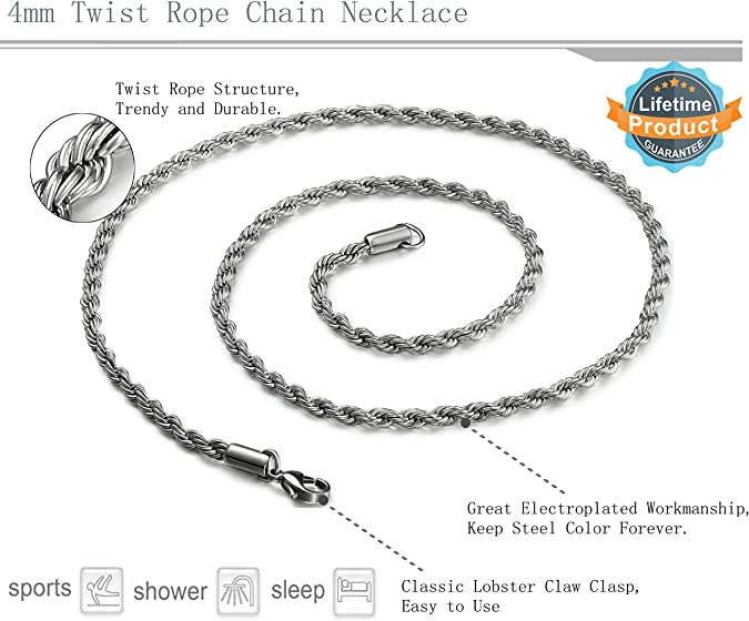 for him 16 to 30 long affordable chain Ball chain Men/'s chain groomsmen gift ideas Popcorn chain Rope chain...Stainless Steel Chain