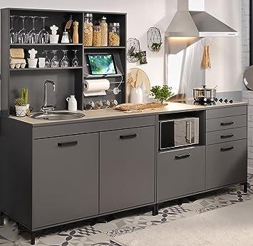 Wohnorama Einbauküche 3 Tlg Ohne E Geräte Moove 2 Von Parisot Grau