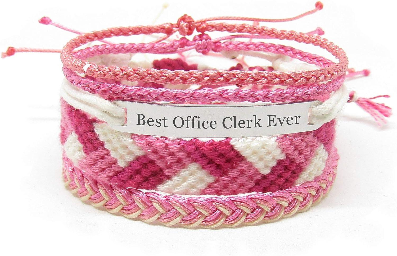 Miiras Handmade Friendship Bracelet for Women - Best Office Clerk Ever Engraved Bracelet Set - Made of Embroidery Floss and Stainless Steel - Gift for Office Clerk