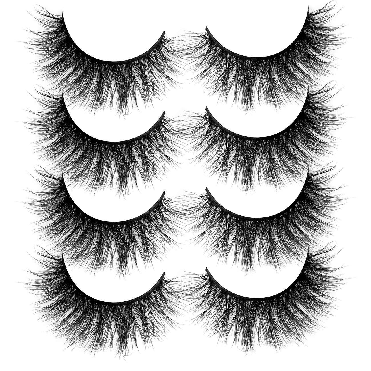 ALICROWN 3D Faux Mink Eyelashes,Fluffy False Lashes Volume Natural Cross Soft Handmade Wispy Eye MakeupROWN