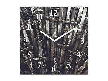 Reloj de Vidrio acrílico - Cuadro de Cristal con Reloj - Reloj de Pared en múltiples diseños; AG05 Serie Fantasy: Juego de Tronos Espadas: Amazon.es: Hogar
