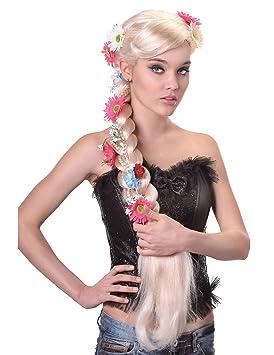 Peluca larga trenza hippie rubia mujer - Única