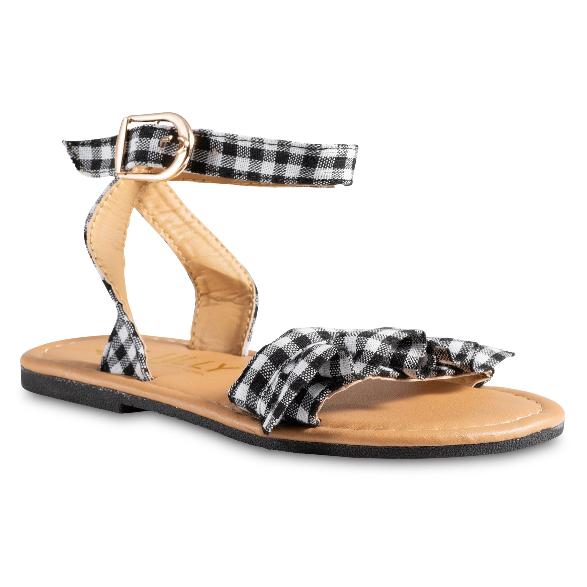 Chillipop Pink, Yellow Black Gingham w/Ruffle Sandals, Available in All Sizes